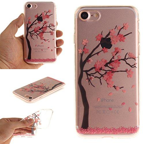 Per iPhone 7,Sunrive® Custodia Cover Case in molle Trasparente Ultra Sottile TPU silicone Morbida Flessibile Pelle Antigraffio protettiva(magnolia) Plum Tree