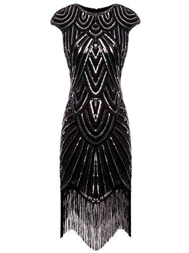 FAIRY COUPLE 1920 Pailletten verschönert Quasten Falten Flapper Kleid D20S002(XL,Schwarz Silber) - Silber Pailletten-bh