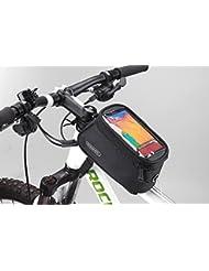 Roswheel Bolso de Bicicleta para Ciclista Ciclismo con Bolsa Transparente y Táctil para Poner Adelante o sobre el Tubo de Bici a Prueba de Agua por bolsilla de PVC con Cable de Extensión de Audio o Video para Teléfonos Móviles, Tablet, iPod, MP3, GPS inferior de 5.5 inches / 14cm, 1.7L Negro