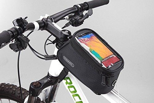 Roswheel Bolso de Bicicleta para Ciclista Ciclismo con Bolsa Transparente y Táctil para Poner Adelante o sobre el Tubo de Bici a Prueba de Agua por bolsilla de PVC con Cable de Extensión de Audio o Video para Teléfonos Móviles, Tablet, iPod, MP3, GPS inferior de 5.5 inches / 14cm, 1.7L
