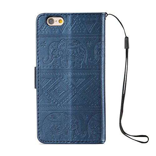 iPhone 6S Hülle,iPhone 6 Schutzhülle,JAWSEU Retro Cool Lanyard/Strap Bookstyle Prägung Tribal Elefant Muster Pu Ledertasche Magnetverschluss Handyhülle Wallet Brieftasche Etui Case Cover mit[Ständerfu Elefant,Blau
