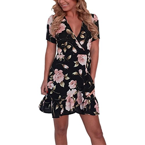 Yanhoo- vestiti donna estivi eleganti abito abiti sera, moda donna spaghetti strap floreale stampa spiaggia stile skater una linea mini dress (s, nero#)