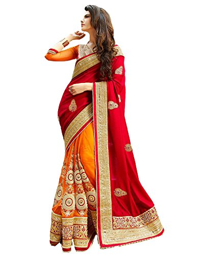 Pramukh Suppliers Women\'s Georgette & Net Multicolor Embroidery Saree With Blouse Piece (SD_RED_ORANGE)