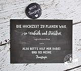 Trauzeugen fragen Geschenk Karte mit Button für die Trauzeugin Willst du meine Trauzeugin sein black, Karte mit Button