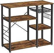 VASAGLE ALINRU Kitchen Baker's Rack, Coffee Bar, Microwave Oven Stand, with Steel Frame, Wire Basket, 6 Hooks,