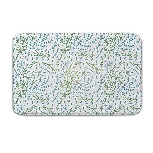 DKISEE Fußmatte für den Innen- und Außenbereich, niedliches Botanisches Muster, Fußmatte, Flanell, 20
