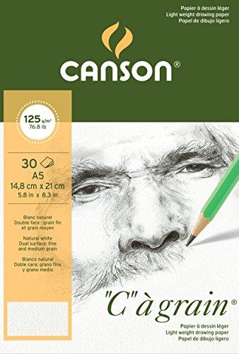 Canson 400060608 C a grain Zeichenpapier, A5, naturweiß