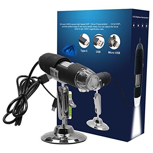 1000x Vergrößerung Endoskop, 8LED USB 2Millionen Pixel Digital Electron Mikroskop Labor Gerät mit der U89Adapter Mini Kamera und Metall Ständer für medizinische Analyse, industrieller Testen, etc. - Medizinische Kamera