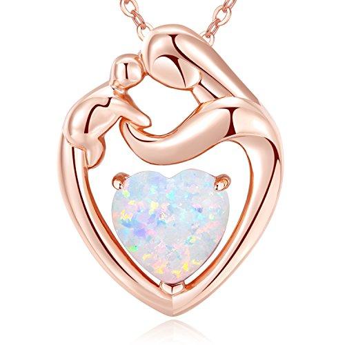 MEGACHIC Collar para Mujer Madre Niño Oro Rosa con Corazón Opalo