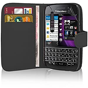 Blackberry - Premium Leder Buch Etui Schutzhülle Beutel + Displayschutzfolie Mit Polieren Tuch + Mini Touch Screen Eingabestift Von Excellent Zubehör