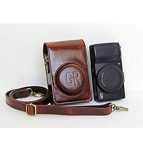 RICOH GR / GR II Tasche PU Leder Wasserdicht Anti-Scratch Schutzhülle Bag mit Abnehmbarer Schultergurt für RICOH GR / GR II Digitalkamera (Kaffee)