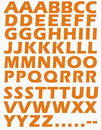 das-label Buchstaben Design NO.2 (gross) | orange Vinyl matt | selbstklebende gestanzte Klein- oder Großbuchstaben | zum Basteln Scrapbook | Sticker | Aufkleber | zum Beschriften