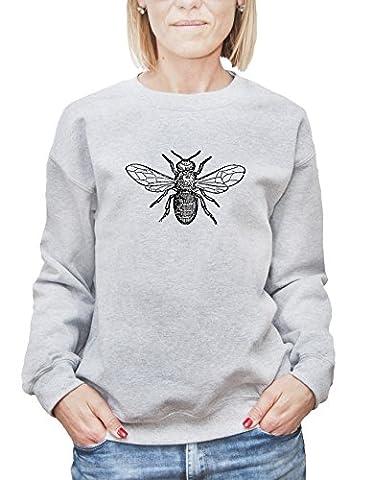 Mesdames Sweatshirt avec Abeille Noire imprimé. Small, Gris