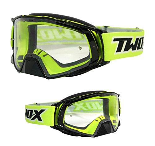 TWO-X Rocket Crossbrille schwarz neon klar MX Brille Motocross Enduro Klarglas Motorradbrille Schutzbrille mit Nasenschutz Anti Scratch Fast Change