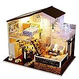 Puppenhaus DIY House mit Licht Miniature Dollhouse Kit Holz Spielzeug Puppenhaus mit Möbel und...