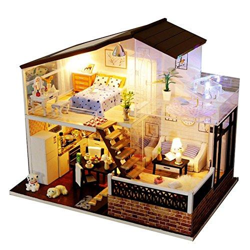 Puppenhaus Bausatz Zum Selbermachen, Holzbausatz Handgefertigt Puppen Haus Spielzeug - Miniatur Möbel Zubehör - LED Licht Kreatives Geschenk DIY Hütte Cabin Cottage, Halloween Weihnachts Geschenk