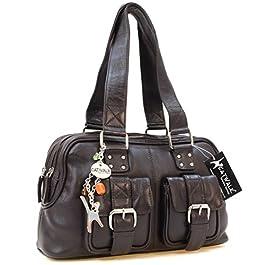Catwalk Collection Handbags – Vera Pelle – Borsa a Spalla/Borse a Mano – Con Ciondolo a Forma di Gatto – Caroline