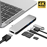 USB C Hub, Type C Adapter, Multiport Type C Hub to 4K HDMI, 2 USB 3.0 (up to 5Gbps), USB C Power Delivery and SD/TF Card reader, Aluminum Case, for Macbook, Macbook pro(2018/17/16), Samsung ChromeBook and more, Silver, iDeer Life