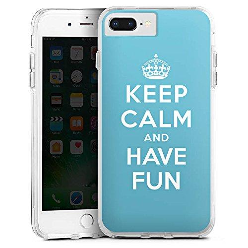 DeinDesign Apple iPhone 8 Plus Bumper Hülle Transparent Bumper Case Schutzhülle Keep Calm Fun Phrase
