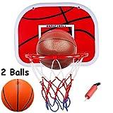 Harxin Juguete de Baloncesto,Mini Juego de Baloncesto con Tablero 38x29cm Bola y Bomba para Niños la Interacción Padre-Hijo, Oficina para Interiores y Exteriores (Mini Hoop)