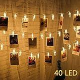 Dreamiracle Guirlande Lumineuse 40 LED Pince Photo Chambre Murale Déco 5 Mètre Lumière Batteries Alimenté pour Accrocher Photos, Notes, Mémos
