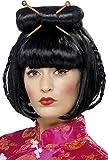 Smiffys Femme, Perruque femme orientale, Noir, mi-longue avec baguettes, 42218