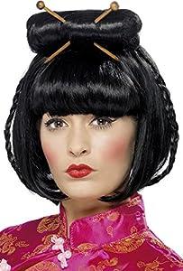 Smiffys 42218 - Peluca de dama oriental con palillos, Negro, Tamaño único