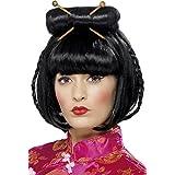 Smiffy's Women's Oriental Lady Wig Mid Length with Chopsticks