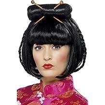 Smiffys Smiffys-42218 Peluca de dama oriental, largo media con palillos Color negro Tamaño