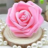 50 cabezales de rosas artificiales de espuma, de tela, florales, para decorar el hogar, bodas, ramos, fiestas, etc, espuma, hot pink, Medium