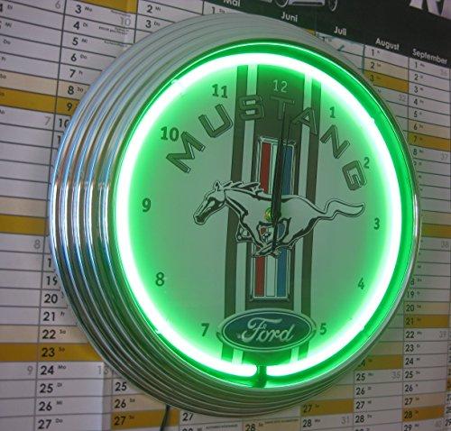 Neonuhr - FORD MUSTANG RACING - Neon GRÜN - Werkstatt Wanduhr - Neon Reklame (Neon Uhr)