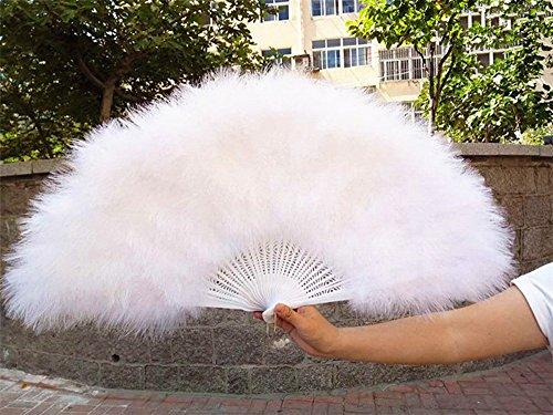 (dollbling Super Big Feder Fan Türkei Performance Party Supplies 7040cm flauschig weich Burlesque Hochzeit Hand Fancy Kleid Kostüm Fan weiß)