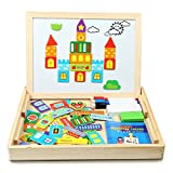Magnetic Jigsaw Puzzles, 70 Pieces, Innoo Tech Educational Wooden Toy for Kids 3 4 5 Years Old, Double Sided Magnetic Drawing Board with 3 Color Pens, Construction Theme