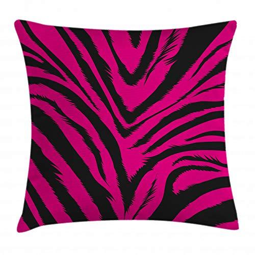 ABAKUHAUS Teen Zimmer Kissenbezug, Pink Zebra Haut, Waschbar mit Reißverschluss Kissenhülle mit Farbfesten Klaren Farben Beidseitiger Druck, 40 x 40 cm, Magenta und Schwarz Pink Zebra Haut