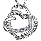 """Dawanza Collier Double Coeur Pendentif pour les Femmes Gravé """"Je t'aime"""" Plaqué or Blanc Avec Crystal Heart Pendentif cadeau pour les femmes"""