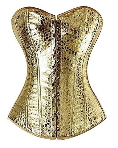 Women's Sequin Faux Leather Front Zipper Corset Top with G-String