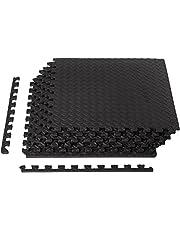 AmazonBasics Puzzle Exercise Mat with EVA Foam Interlocking Tiles - Black