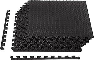 Exercise Mat with EVA Foam Interlocking Tiles - Black