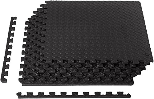 Pool Mat (Exercise Mat with EVA Foam Interlocking Tiles - Black)