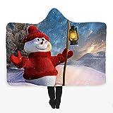 xkjymx Natale con Cappuccio Mantello con Cappuccio Spesso Stampa Digitale in Peluche a Doppio Strato con Tappi Personalizzabili Natale 10 Bambini 130X150 cm