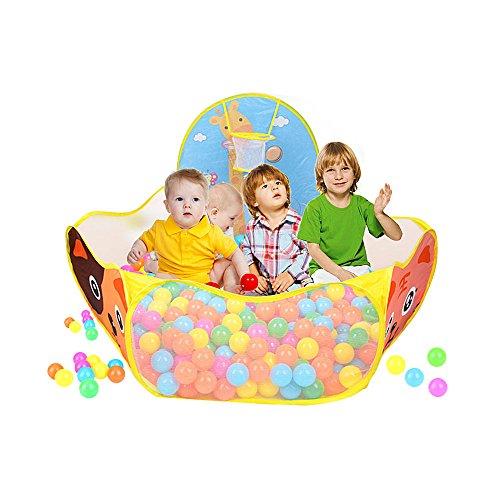 Kinderspielzelt Ball Pit - Orange Faltbar Children Zelt Bällebad Baby Bällen Storage Bag Playpen Ball Pit für Kind mit Basketballkorb