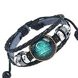 HZYSQ Douze Constellations Bracelet Bijoux Hommes Et Femmes Et Hommes Style Rétro Ange Aile Pendentif En Cuir Bracelet Multi-style Bijoux,Libra