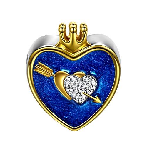 Ninaqueen argento sterling 925 cuore charms pandora compatibili per la festa della mamma donne ragazza smalto charms gioielli bigiotteria regali anniversario compleanno per donne moglie