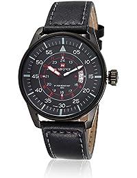 Naviforce reloj de los hombres de negocios del deporte día pantalla analógica cuarzo negro funda de piel reloj de pulsera (negro)
