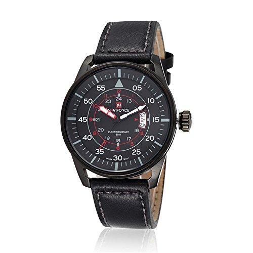 naviforce Herren Business Sport-Tag-Anzeige Analog Quarz Schwarz Fall Leder Armbanduhr (schwarz)