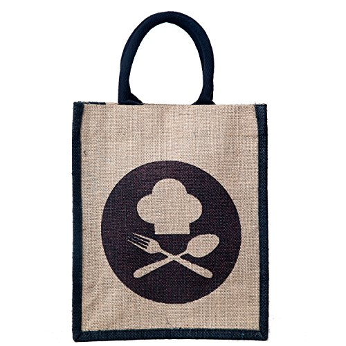 Honey & Bee Organic Jute Lunch-Bag ,DINE-3 Design,Black-Portrait