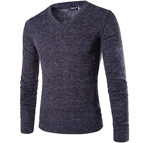 INFLATION Herren Basic Pullover Fleece Gestreift Strickpullover Langarm Freizeit Sweatshirt V-ausschnitt Pulli, Dunkelgrau, Gr.L