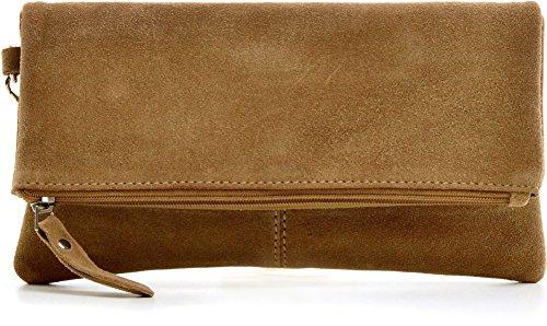 CNTMP, Damen Handtaschen, Clutches, Clutch, Unterarmtaschen, Abendtaschen, Party-Bags, Trend-Bags, Velours, Veloursleder, Wildleder, Leder Tasche, Farbe:Taupe;Größe:LARGE -
