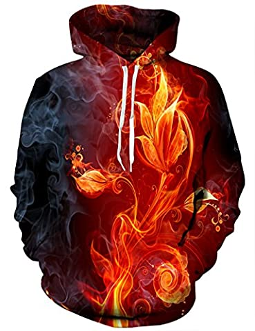 EOWJEED Unisexe 3D imprimé Galaxy Pocket Drawstring Hooded Sweatshirt Medium