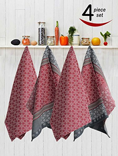 Avira Home Royal Classic Large Kitchen Towels with Hanging Loop- Pack of 4-(Multicolor)